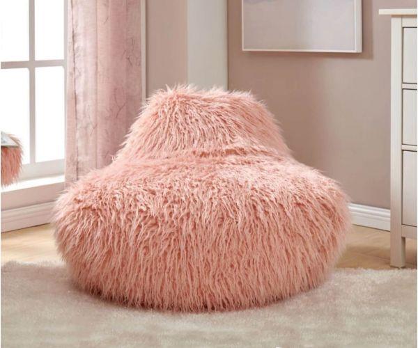 Derrys Furniture Faux Sheepskin Pink Bean Bag