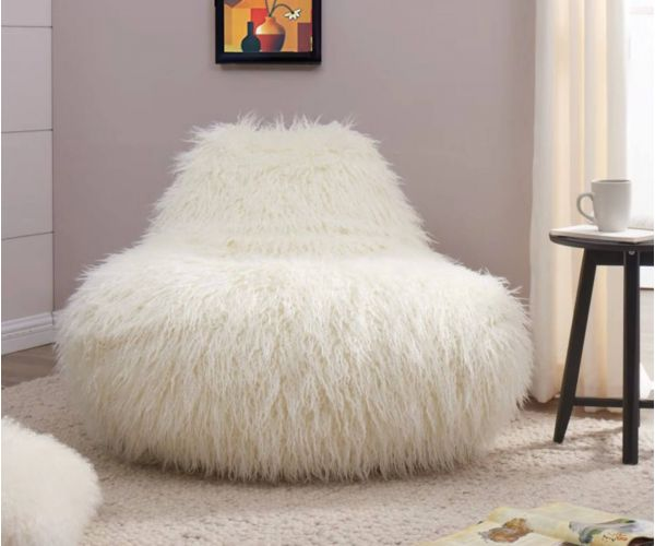 Derrys Furniture Faux Sheepskin White Bean Bag