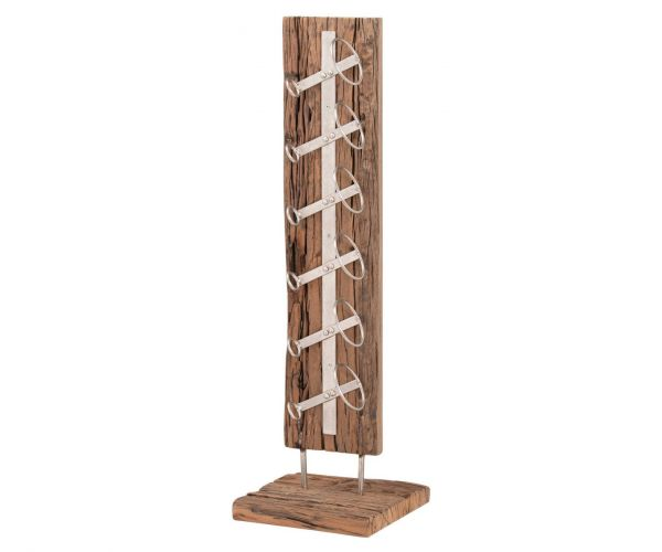 Floor Standing Reclaimed Timber 6 Bottle Wine Rack