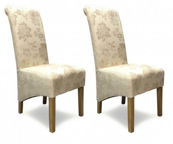 Homestyle GB Wave Floral Cream Fabric Dining Chair in Pair
