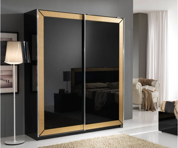 MCS Florence Black Finish 2 Door Sliding Wardrobe