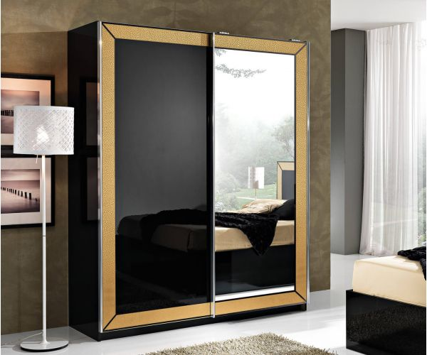MCS Florence Black Finish 2 Door Combi Sliding Wardrobe