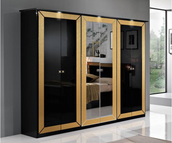 MCS Florence Black Finish 6 Door Wardrobe