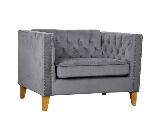 Birlea Furniture Florence Grey Velvet Snuggle Chair