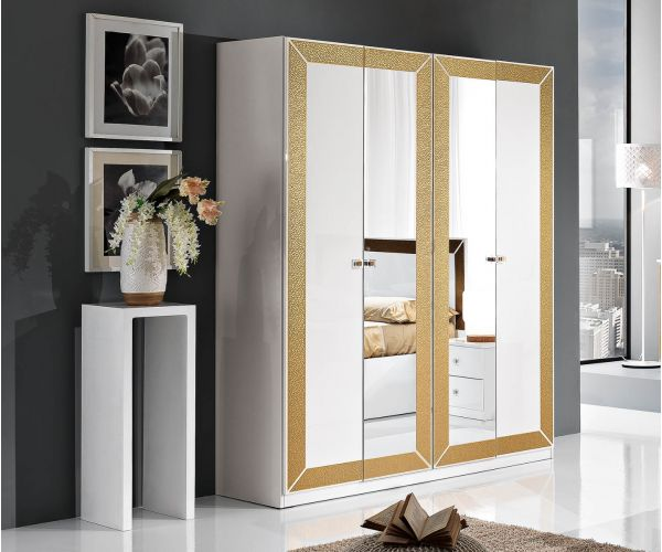 MCS Florence White Finish 4 Door Wardrobe