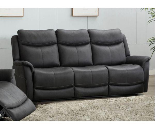 Furniture Line Arizona Slate Fabric Fixed 3 Seater Sofa