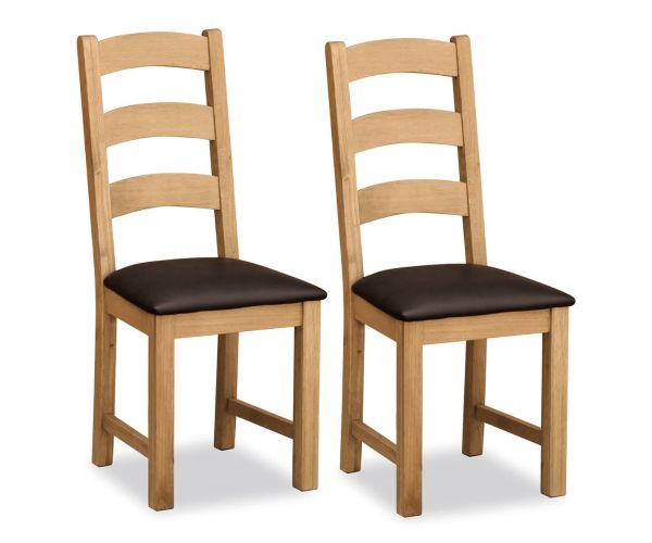 Global Home Cork Lite Oak Ladder Back Dining Chair in Pair