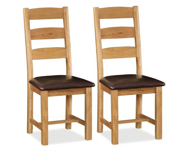 Global Home Cork Oak Slatted Dining Chair in Pair