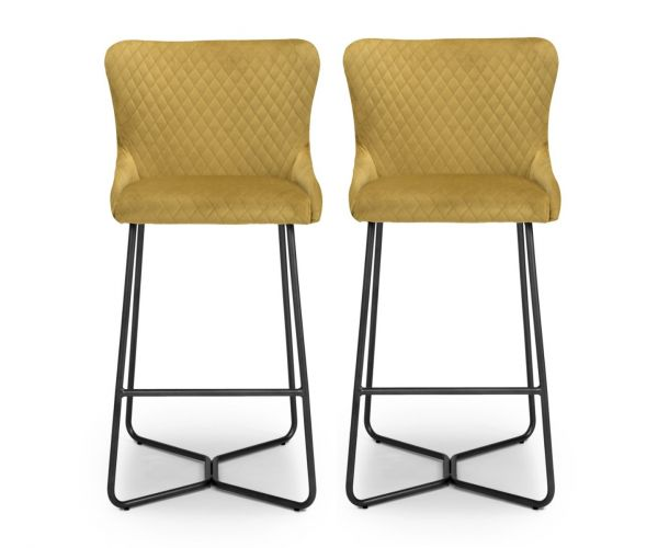 Shankar Gala Brushed Velvet Mustard Bar Stool in Pair