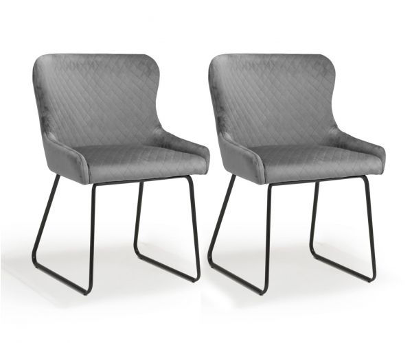 Shankar Galway Brushed Velvet Grey Dining Chair in Pair