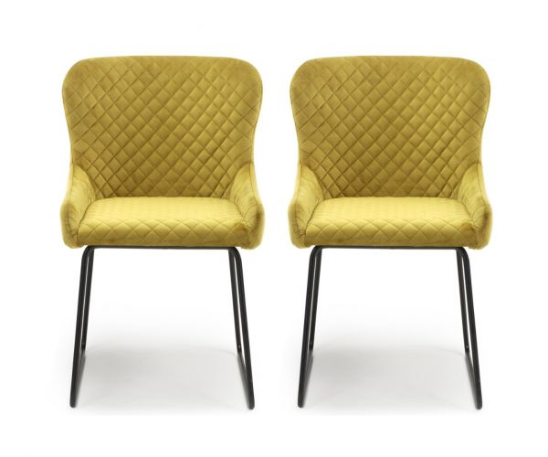 Shankar Galway Brushed Velvet Mustard Dining Chair in Pair