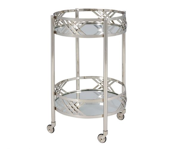 Serene Furnishings Gangtok Clear Tempered Glass and Nickel Drinks Trolley