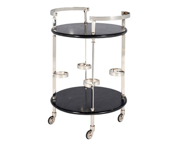 Serene Furnishings Gaya Black Marble Top and Nickel Drinks Trolley