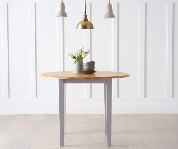 Mark Harris Genovia Oak and Grey Drop Leaf Extending Dining Table Only