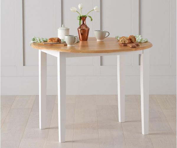 Mark Harris Genovia Oak and White Drop Leaf Extending Dining Table Only