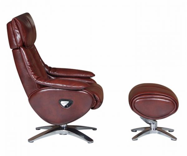 GFA Alpha Conker Brown Leather Swivel Recliner Chair