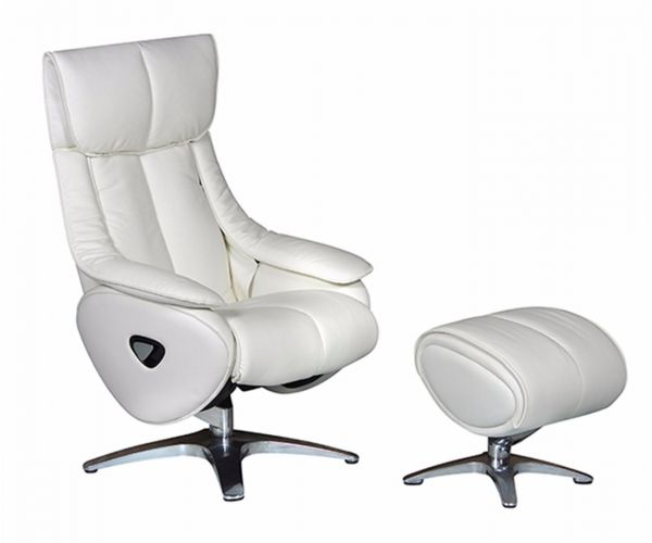 GFA Alpha White Leather Swivel Recliner Chair