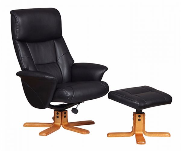 GFA Marseille Black Faux Leather Swivel Recliner Chair