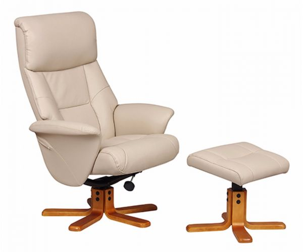 GFA Marseille Cafe Latte Faux Leather Swivel Recliner Chair