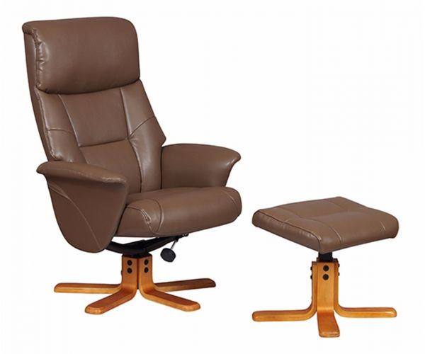 GFA Marseille Truffle Faux Leather Swivel Recliner Chair