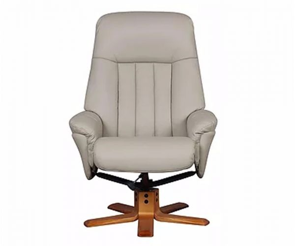 GFA St Tropez Bone Plush Leather Swivel Recliner Chair