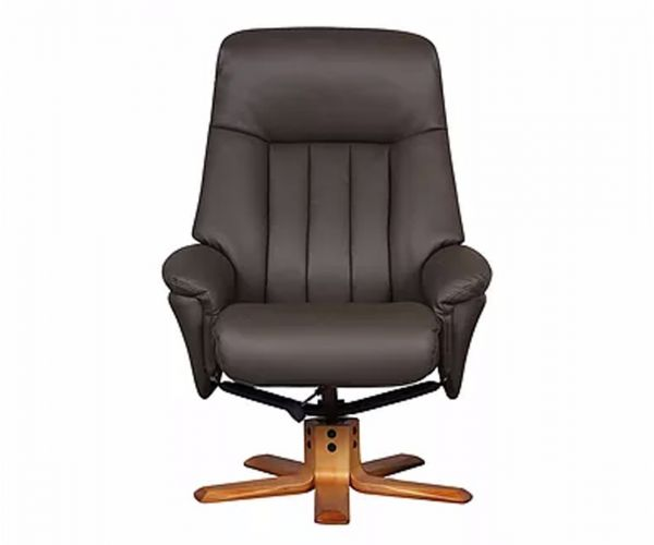 GFA St Tropez Charcoal Plush Leather Swivel Recliner Chair