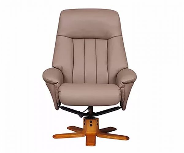GFA St Tropez Earth Plush Leather Swivel Recliner Chair
