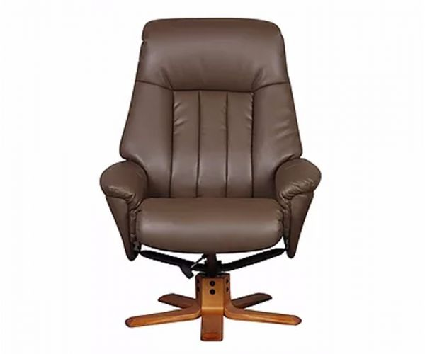 GFA St Tropez Truffle Plush Leather Swivel Recliner Chair