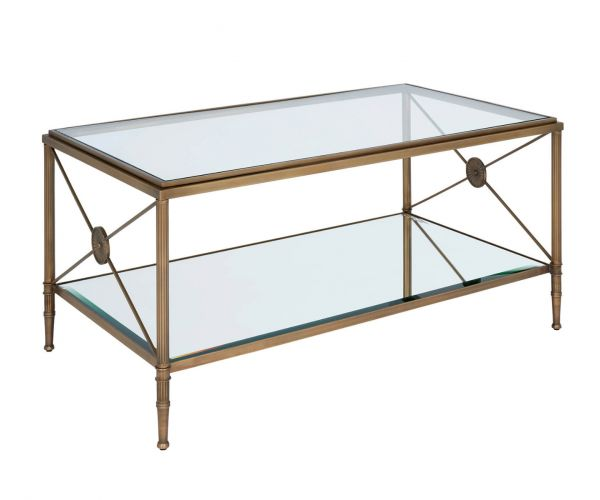 Serene Furnishings Goa Clear Glass Top and Antique Brass Coffee Table
