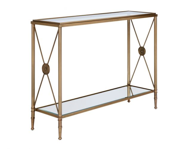 Serene Furnishings Goa Clear Glass Top and Antique Brass Console Table