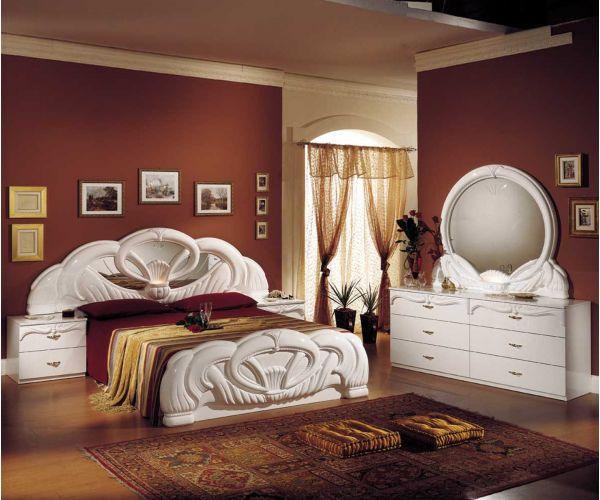 Ben Company Giada White Italian Bedroom Set with 6 Drawer Dresser