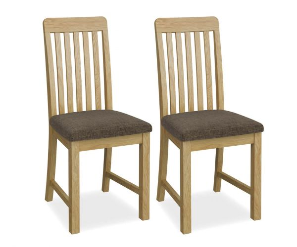 Global Home Bath Oak Slatted Dining Chair in Pair