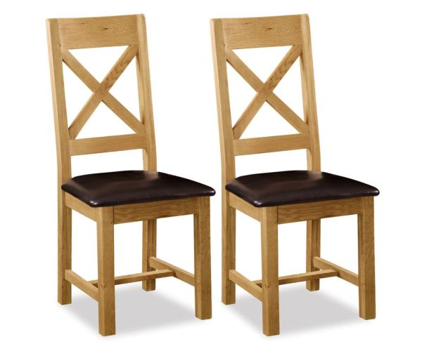 Global Home Salisbury Cross Back Dining Chair with PU Seat in Pair