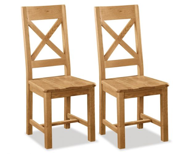 Global Home Salisbury Cross Back Dining Chair with Wooden Seat in Pair