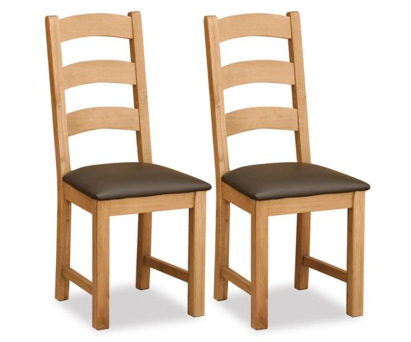 Global Home Salisbury Lite Ladder Chair with Brown PU Seat in Pair