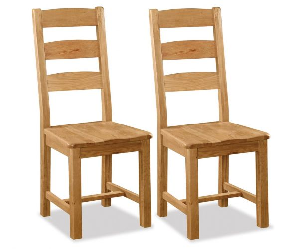 Global Home Salisbury Slatted Back Dining Chair with Wooden Seat in Pair