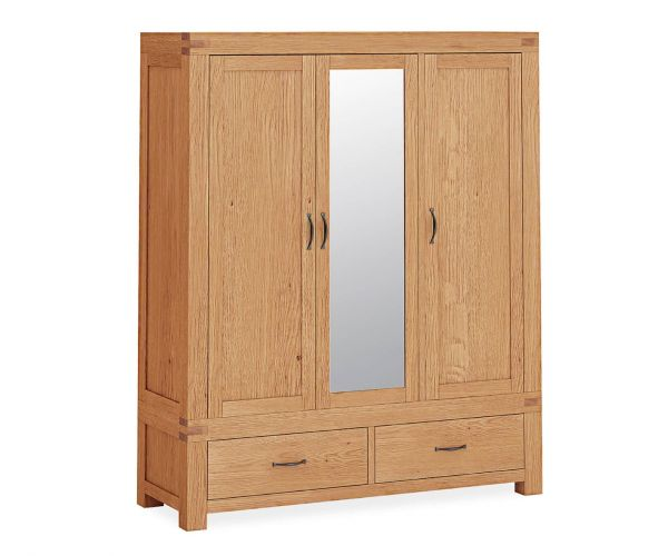 Corndell Sherwood Oak Triple Wardrobe with Mirror