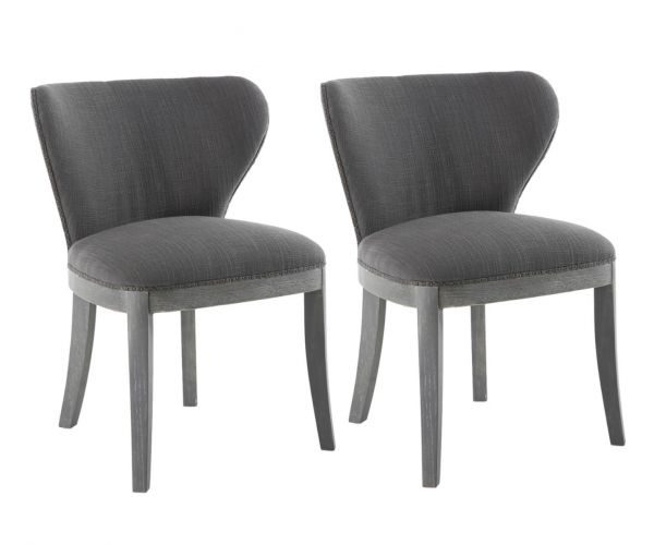 Shankar Grandure Antique Grey Fabric Accent Chair In Pair