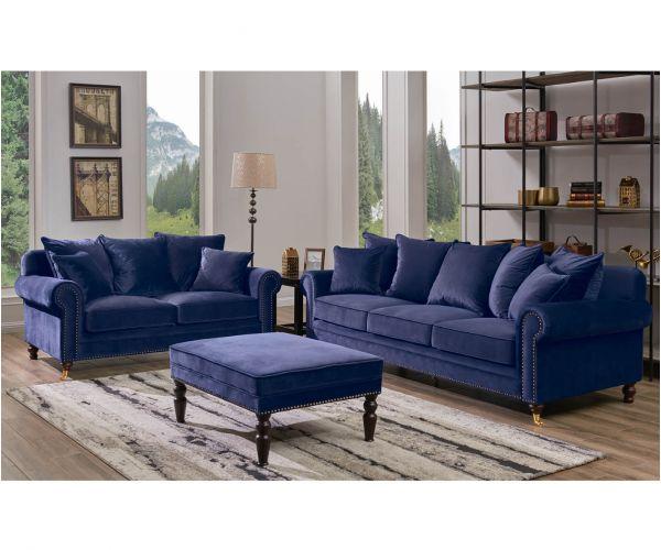 Derrys Furniture Hampton Blue 3+2 Sofa Set with Footstool