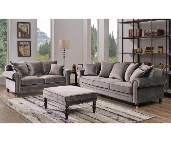 Derrys Furniture Hampton Grey 3+2 Sofa Set with Footstool