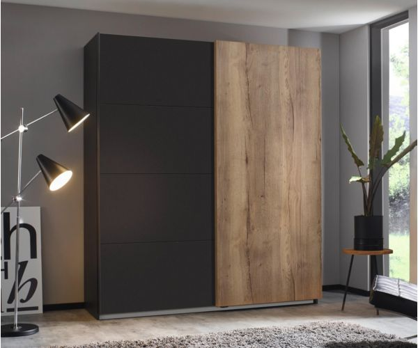 Rauch Halifax Metallic Grey Carcase 2 Sliding Door Wardrobe
