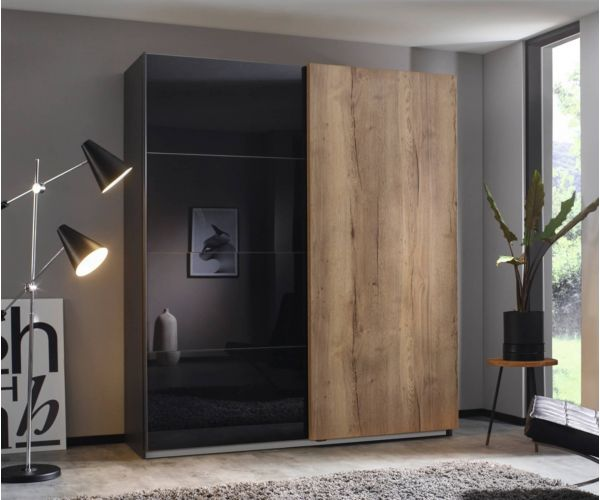 Rauch Halifax Metallic Grey Carcase with Glass Basalt Front 2 Sliding Door Wardrobe