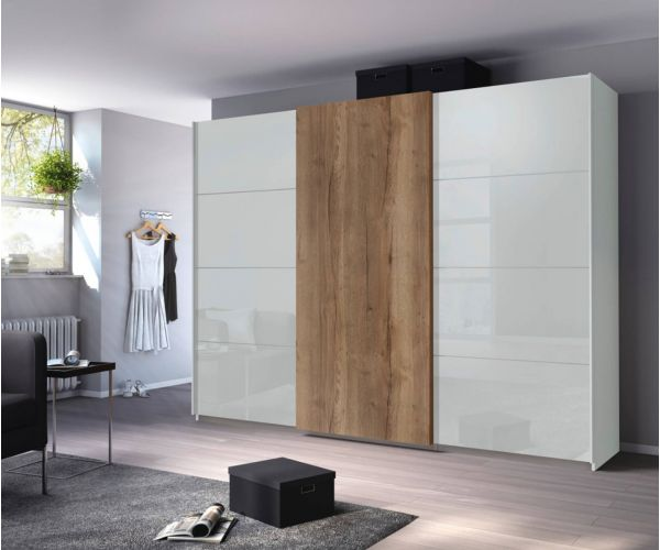 Rauch Halifax Silk Grey Carcase with Glass Silk Grey Front 3 Sliding Door Wardrobe