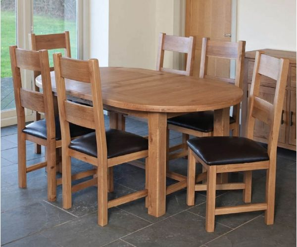 Furniture Line Hampshire Oak Oval Extending Dining Set with 6 Padded Seat Chairs - 180cm-220cm
