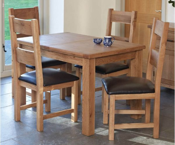 Furniture Line Hampshire Oak Rectangular Extending Dining Set with 4 Padded Seat Chairs - 120cm-160cm