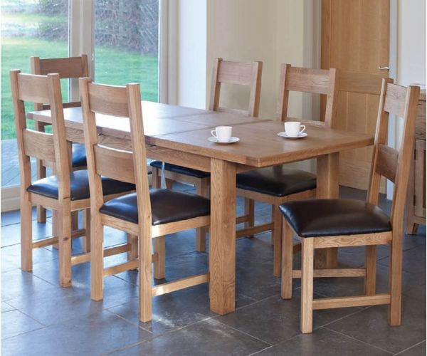 Furniture Line Hampshire Oak Rectangular Extending Dining Set with 6 Padded Seat Chairs - 150cm-195cm