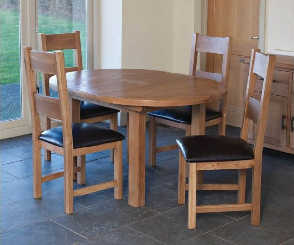 Furniture Line Hampshire Oak Round Extending Dining Set with 4 Padded Seat Chairs - 107cm