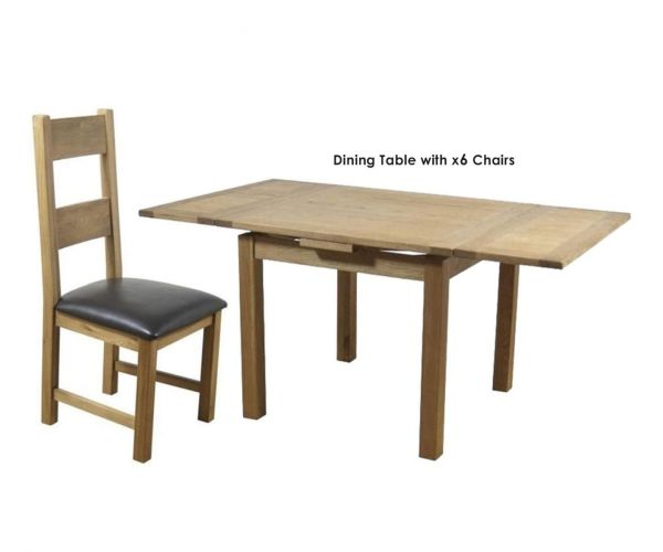 Furniture Line Hampshire Oak Square Draw Leaf Extending Dining Set with 6 Padded Seat Chairs - 90cm-160cm
