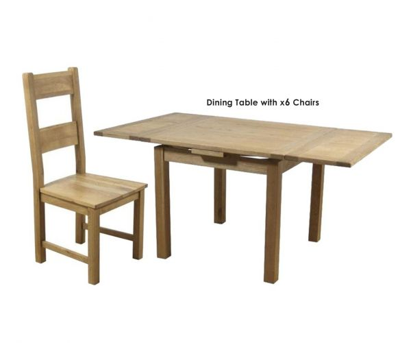Furniture Line Hampshire Oak Square Draw Leaf Extending Dining Set with 6 Solid Seat Chairs - 90cm-160cm