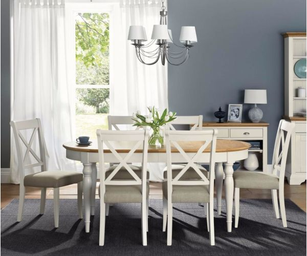 Bentley Designs Hampstead Soft Grey and Oak 6-8 Extension Table with X Back Dining Chairs